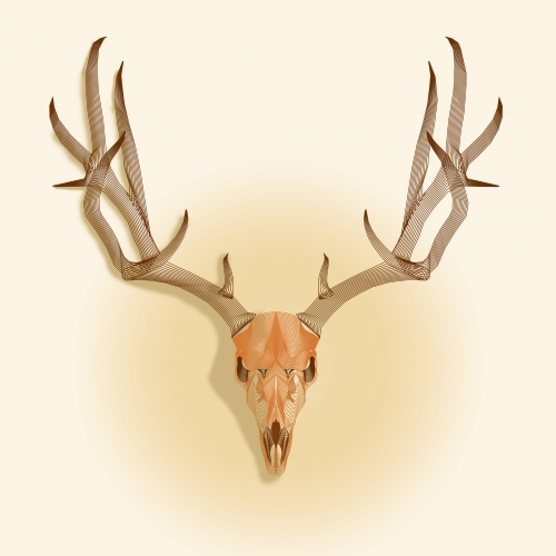 Logo of deer head on a white background. (hunting)